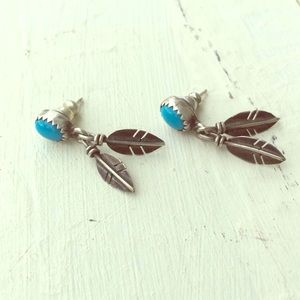 Jewelry - Sterling turquoise feather earrings Native America